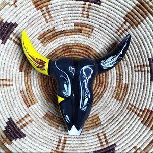 Hand Painted Boho Ceramic Bull Skull Decor